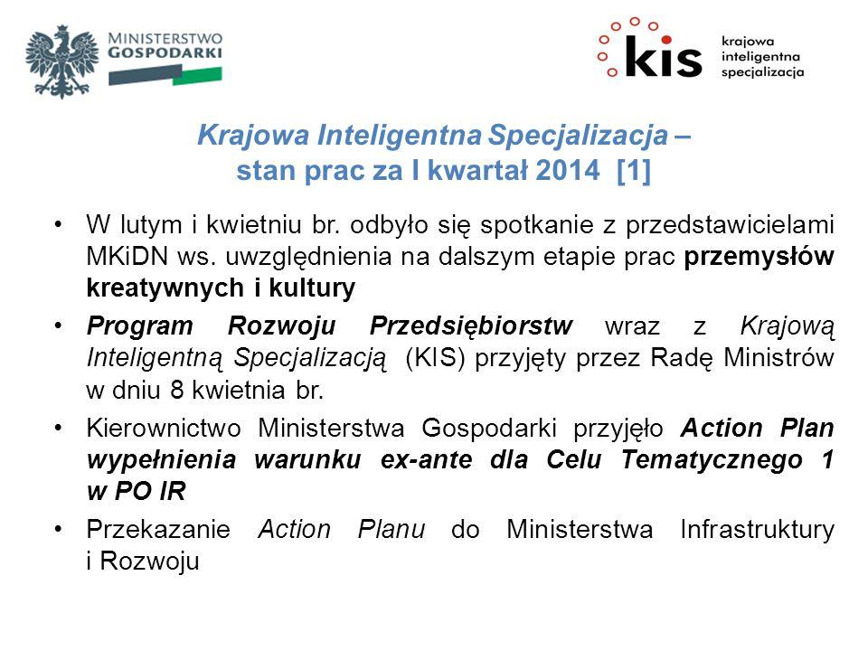 Krajowa Inteligentna Specjalizacja – stan prac za I kwartał 2014 [1]